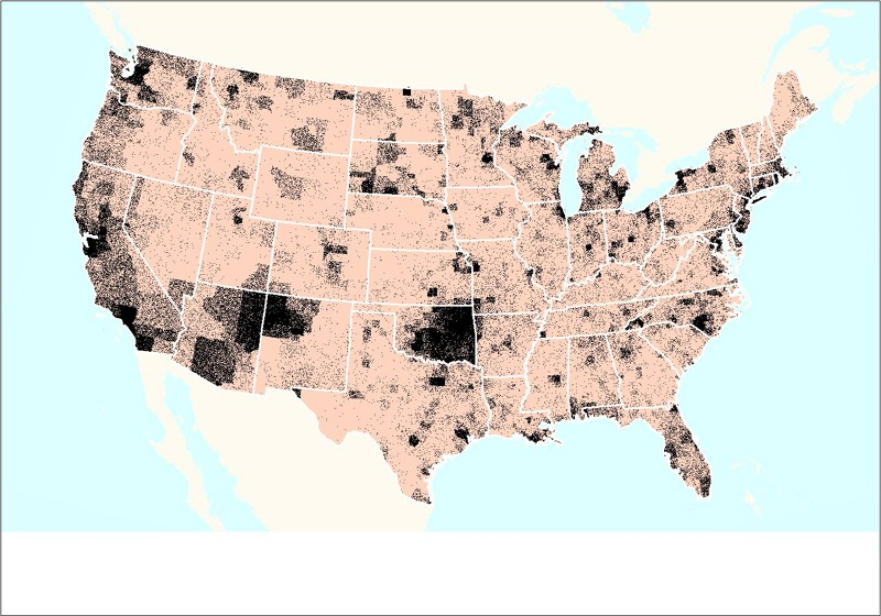 A Dot Density map of American Indian and Alasak Native Elders from the 1990 Census