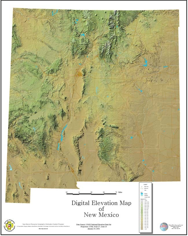 New Mexico DEM Map (Sample Map) | Earth Data Analysis Center